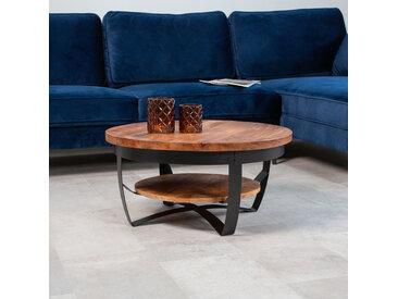 Baldo Table Basse Industrielle Ronde Ø70 cm - Bois Manguier