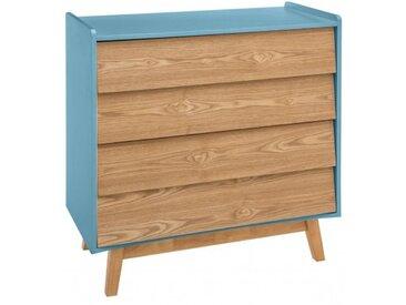 Commode 4 tiroirs bois Elva bleu Atmosphera