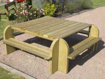 Table carrée avec bancs CIHB Elite,  pin autoclave - Camif