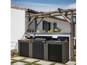 Cuisine d'extérieur en acier galvanisé  avec plancha Bergera 75, évier et plan - Camif