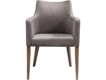 Chaise avec accoudoirs Mode velours gris Kare Design