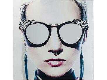 Tableau en verre femme rebelle lunettes 120x120cm Kare Design