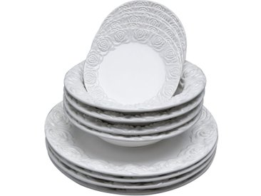 Set de 12 assiettes Roses blanches Kare Design