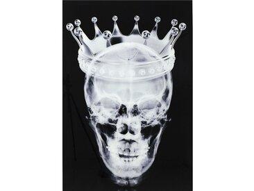 Tableau en verre crâne couronne 120x80cm Kare Design