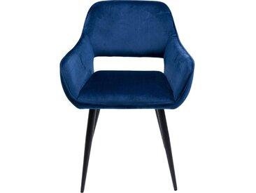 Chaise avec accoudoirs San Francisco velours bleu pétrole Kare Design