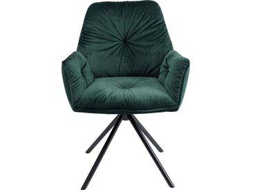 Chaise avec accoudoirs Mila velours vert Kare Design