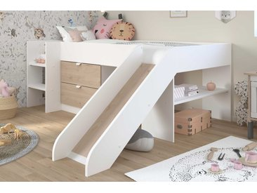 Lit toboggan Tobo 90x200 - chêne/blanc