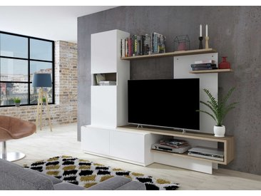 Meuble tv Boris 200cm - blanc/brun