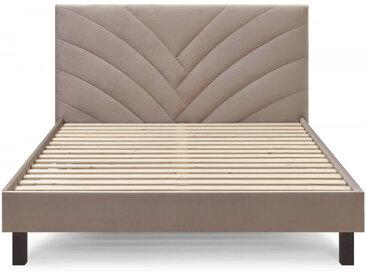 Structure de lit 140x190 cm VELVET avec lattes massives pieds carrés en bois wengé