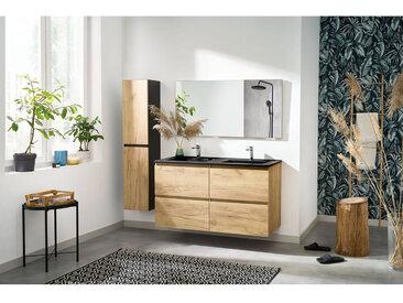 Ensemble de salle de bain KALEO 120 cm et colonne couleur bois