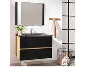 Meuble de salle de bain 80 cm AKELA Couleur chêne et noir