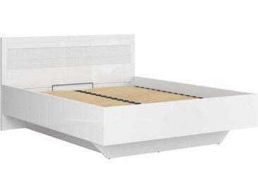 Lit coffre 160x200 cm ELEGO blanc brillant