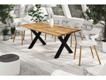 Table à diner en chêne, pied en métal, Gamme Parme 140 x 90 cm / 4 ou 6 personnes