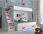 Lit superposé avec tiroir de rangement et escalier blanc, Gamme dream Blanc et poignées Rose