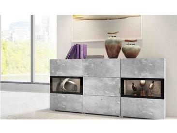 Buffet en bois melamine et verre en beton, 2 portes vitrees,, tiroirs, LED, Gamme Mya W