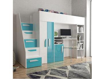 Lit combiné enfant 90x200 avec escalier, bureau et rangements , Gamme dream Blanc et Bleu Brillan