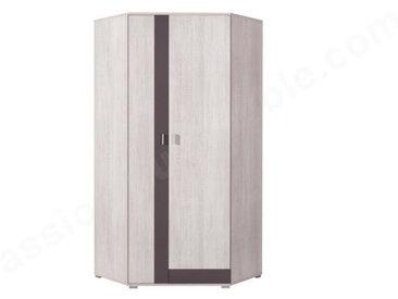 Armoire d'angle enfant en pin, 2 portes, Gamme evora Blanc et gris