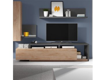 Meuble TV design, grand tiroir, Gamme Evo Chêne et Anthracite