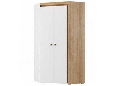 Armoire d'angle enfant en bois blanc et chêne, 2 portes, Gamme Ypres