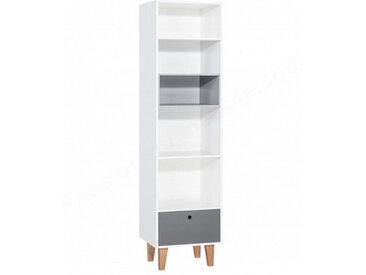 Bibliothèque enfant en bois blanc et gris, 1 tiroir, 5 niches, Gamme tomar