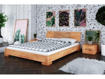 Lit bois massif en hêtre, couleur Hêtre, dimension 160 x 200, Gamme Lancy