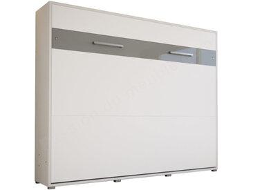 LIT ESCAMOTABLE HORIZONTAL 160x200 BLANC – GAMME CONCEPT Blanc mat et Blanc brillant