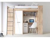 Lit combiné enfant 90x200 avec bureau et armoires , Gamme maxi Chêne et Blanc A gauche
