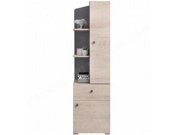 Bibliothèque enfant en bois, chêne et gris, 1 tiroir, 2 portes, 3 niches, Gamme faro