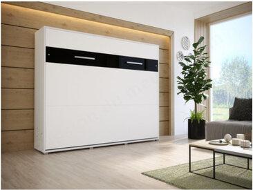 Lit escamotable horizontal 140x200 blanc , Gamme concept Blanc mat et noir brillant