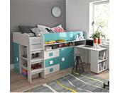 Lit combiné enfant 90x200 avec bureau et rangements , Gamme dream Blanc et Bleu Brillant