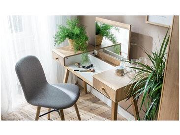 Coiffeuse en bois, 2 tiroirs, 1 niche, 1 miroir relevable, Gamme benidorm Chêne et blanc