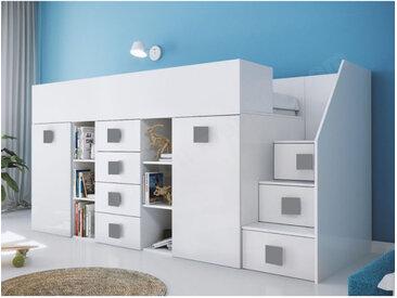 Lit combiné enfant 90x200 avec escalier et bureau blanc , Gamme dream Blanc et poignées Grise A