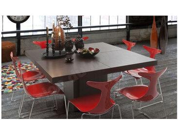 Table à manger design 150x150 cm, finition chocolat, Gamme Dusk Chocolat 130 cm / 6 personnes