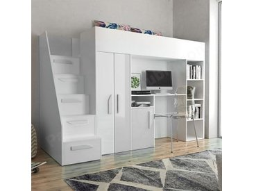 Lit combiné enfant 90x200 avec escalier et rangements blanc , Gamme dream Blanc