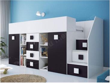 Lit combiné enfant 90x200 avec escalier et bureau , Gamme dream Blanc et Noir Brillant A droite