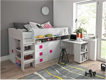 Lit combiné enfant 90x200 avec bureau et rangements blanc , Gamme dream Blanc et poignées Rose
