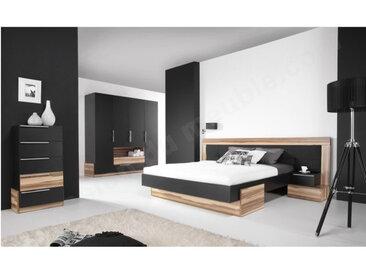 Lit double design adulte 160 x200 cm, noyer et noir, Gamme mya Avec 2 chevets