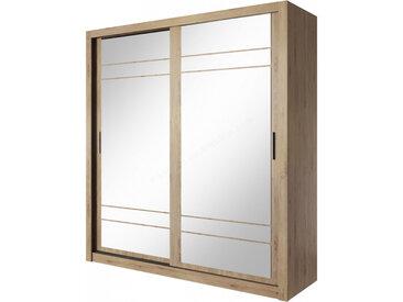 Armoire dressing design 2 portes coulissantes avec deux miroirs , Gamme concept Chêne