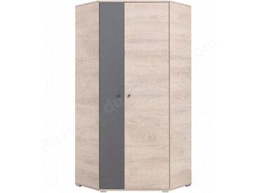 Armoire d'angle enfant en bois chêne et gris, 2 portes, Gamme faro