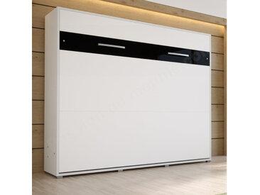 LIT ESCAMOTABLE HORIZONTAL 160x200 BLANC – GAMME CONCEPT Blanc mat et Noir brillant
