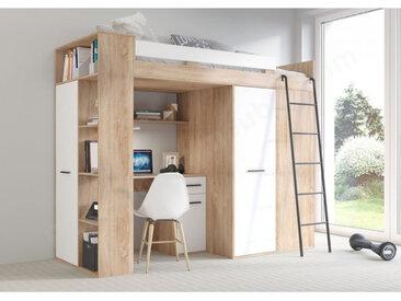 Lit combiné enfant 90x200 avec bureau et armoires , Gamme maxi Chêne et Blanc A droite