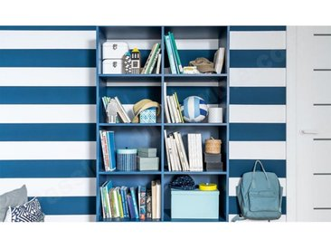 Bibliothèque enfant en bois, 8 niches, Gamme tavira Bleu