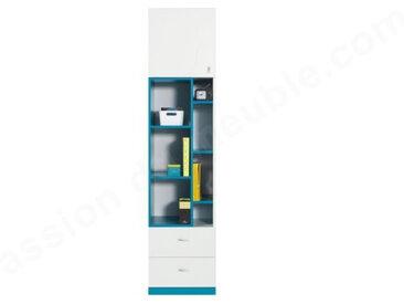 Bibliothèque enfant en bois blanc et bleu, 2 tiroirs, 1 porte, 7 niches, Gamme braga
