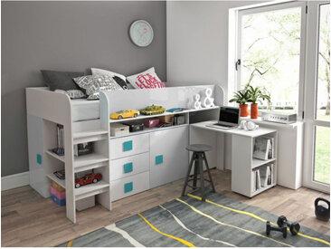 Lit combiné enfant 90x200 avec bureau et rangements blanc , Gamme dream Blanc et poignées Bleu