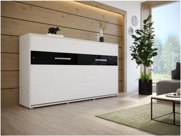 Lit escamotable horizontal 90x200 blanc , Gamme concept Blanc mat et noir brillant