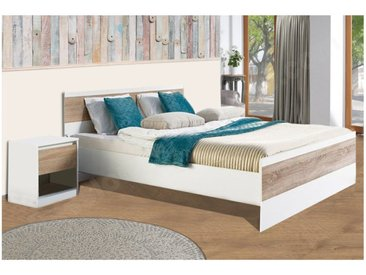 Lit design en bois blanc et chêne 160 x 200 cm, Gamme Binche