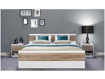 Lit design en bois blanc et chene, 160, 200 cm, Gamme Binche