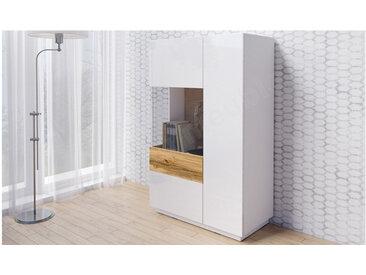 Vaisselier en bois, 1 porte, 1 porte vitrée a gauche, 4 étagères, Gamme florence Blanc