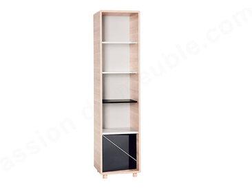 Bibliothèque enfant en bois, blanc, chêne et noir, 4 niches, 1porte, Gamme sintra