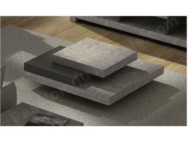 Table basse design carre 90x90, effet beton et noir, Gamme SLATE